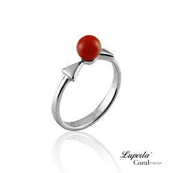 大東山珠寶 雙星報喜全紅珊瑚純銀戒指