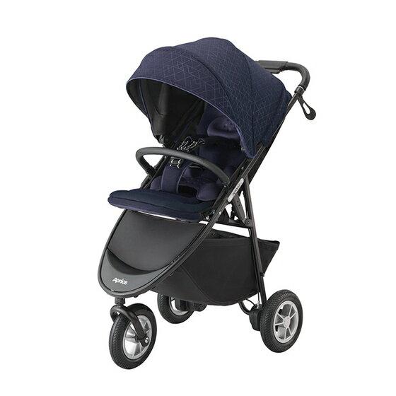 *babygo*愛普力卡Aprica SMOOOVE Premium 大三輪 挑高型座椅嬰幼兒手推車(免打氣款) 藍海#92747
