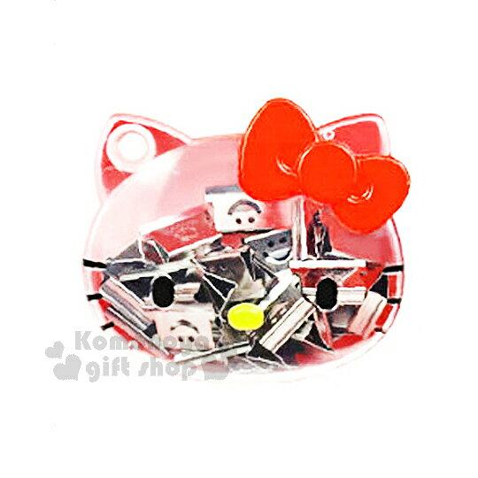 〔小禮堂〕Hello Kitty 推夾器補充夾組《透明.大臉.紅蝴蝶結》附 盒