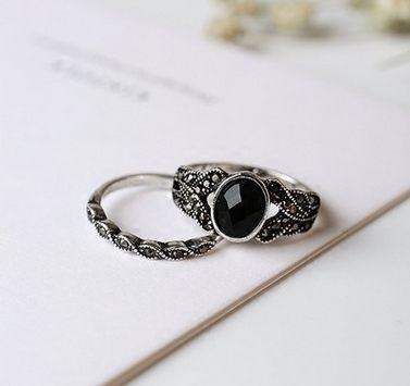 PS Mall 復古新品仿黑瑪瑙戒指 鑲鑽細麻花2件套戒指女指環 復古~G2087~ ~