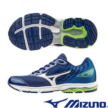 K1GC162501(丈青X白X藍)WAVE RIDER19 Jr. 一般型大童鞋 A【美津濃MIZUNO】