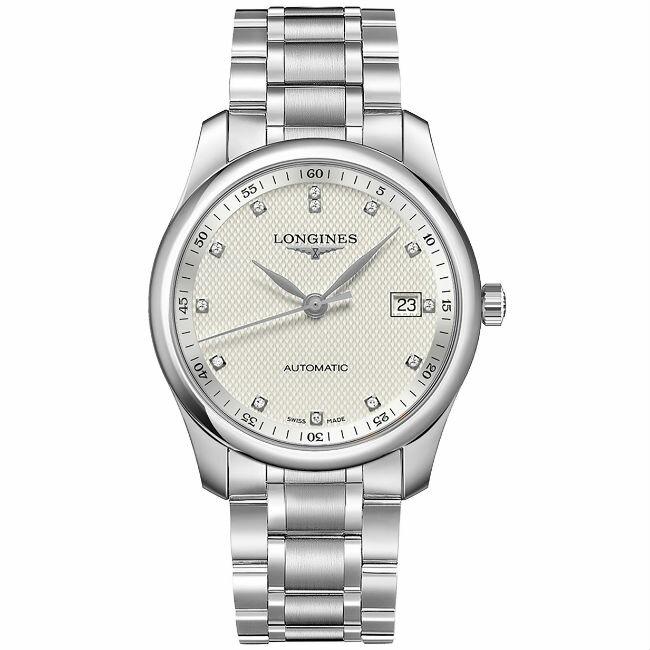 LONGINES 浪琴表 L27934776 巨擘經典優雅真鑽機械腕錶/白網紋面 40mm