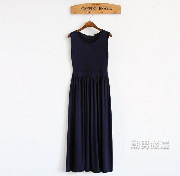 無袖洋裝2018女士夏裝莫代爾連身裙大尺碼收腰長裙修身背心裙百褶打底裙