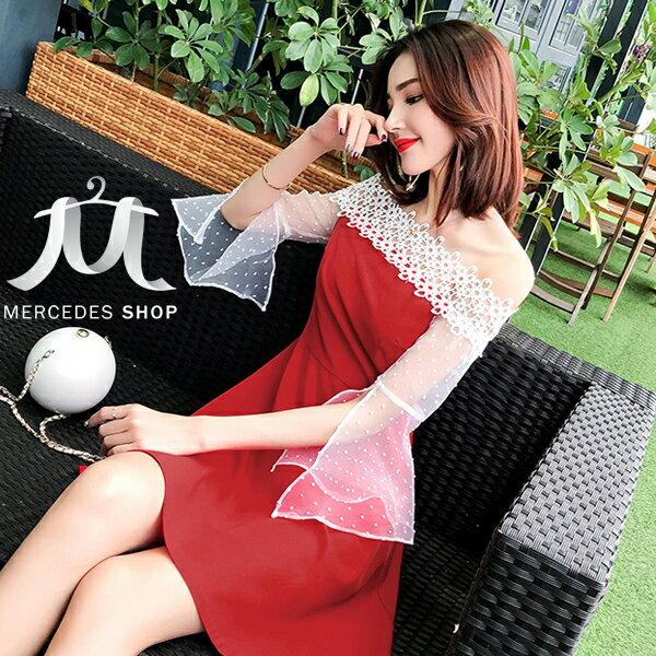 《全店75折》韓國一字領收腰半開袖紅白撞色A字連身裙短袖洋裝禮服(S-XL)-梅西蒂絲(現貨+預購)