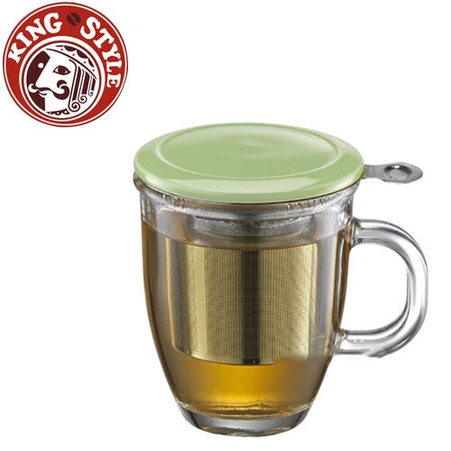 金時代書香咖啡 Tiamo 附蓋不鏽鋼濾網 玻璃馬克杯 綠色
