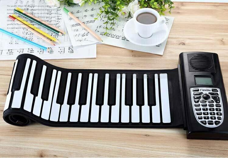 鉅惠夯貨-手捲鋼琴61鍵成人折疊便攜式midi鍵盤49鍵兒童益智啟蒙學習鋼琴