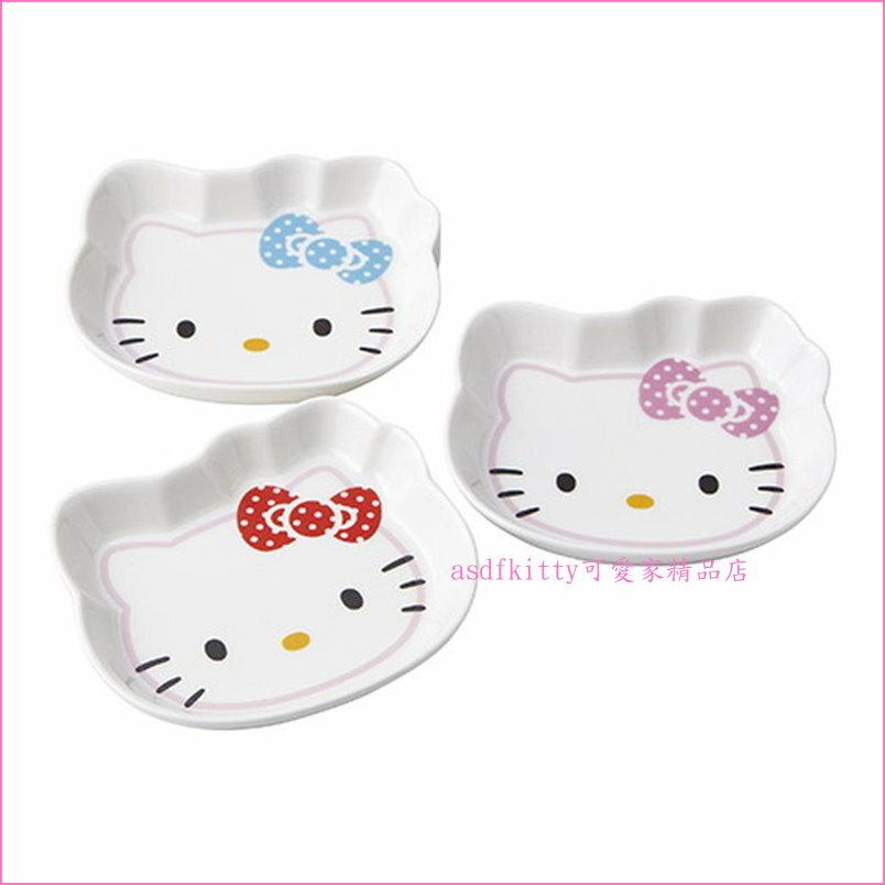 asdfkitty可愛家☆日本金正陶器KITTY3入臉型磁盤組/點心盤組-可微波-日本製