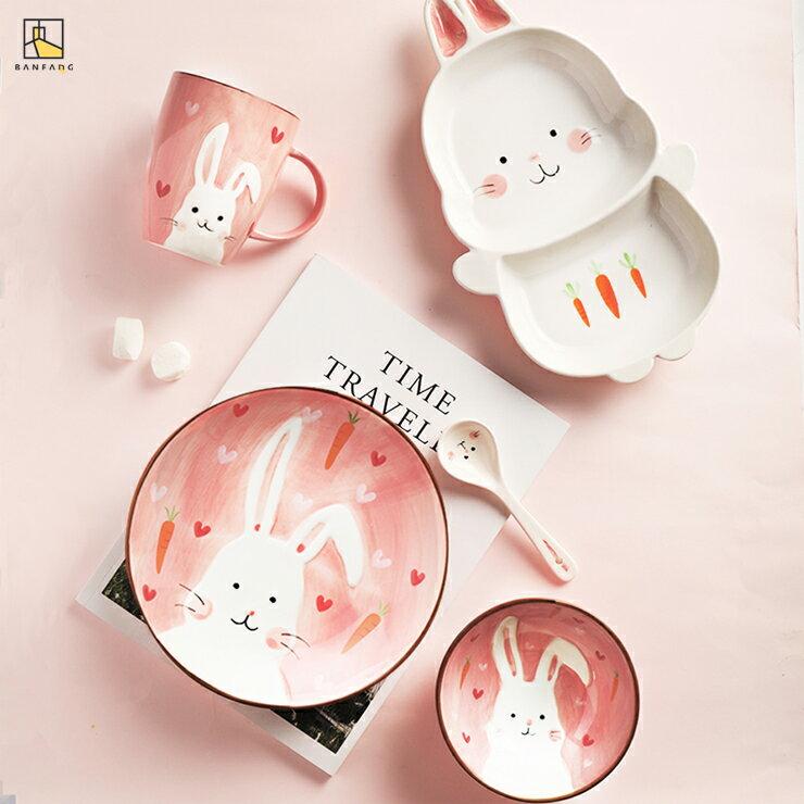 半房雜貨 動物陶瓷兒童餐具 分格小盤子 卡通可愛一人食早餐套 寶寶米飯碗
