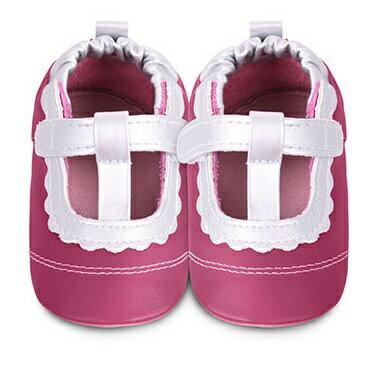 【HELLA 媽咪寶貝】英國 shooshoos 安全無毒真皮手工鞋/學步鞋/嬰兒鞋_桃紅銀白T飾條(公司貨)