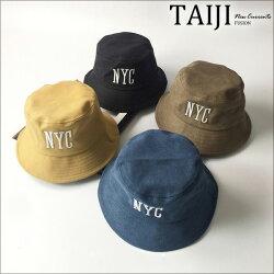 漁夫帽‧NYC刺繡素色棉質漁夫帽‧四色【NXHA110】-TAIJI-遮陽/帽子/潮流★