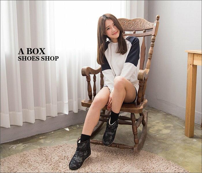 【KR807】基本款百搭牛仔雪花紋帆布 保暖柔軟厚毛料 防滑膠底短筒雪靴 雪地靴 2色 1