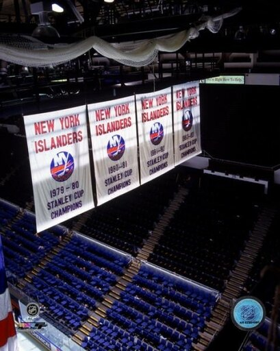 New York Islanders Stanley Cup Championship Banners Photo Print (8 x 10) 999ad380abde874eaf23b6f6e8dc5ad6