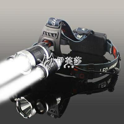 LED三頭頭燈強光可充電感應夜釣捕魚燈遠射超亮頭戴式礦燈手電筒 摩可美家