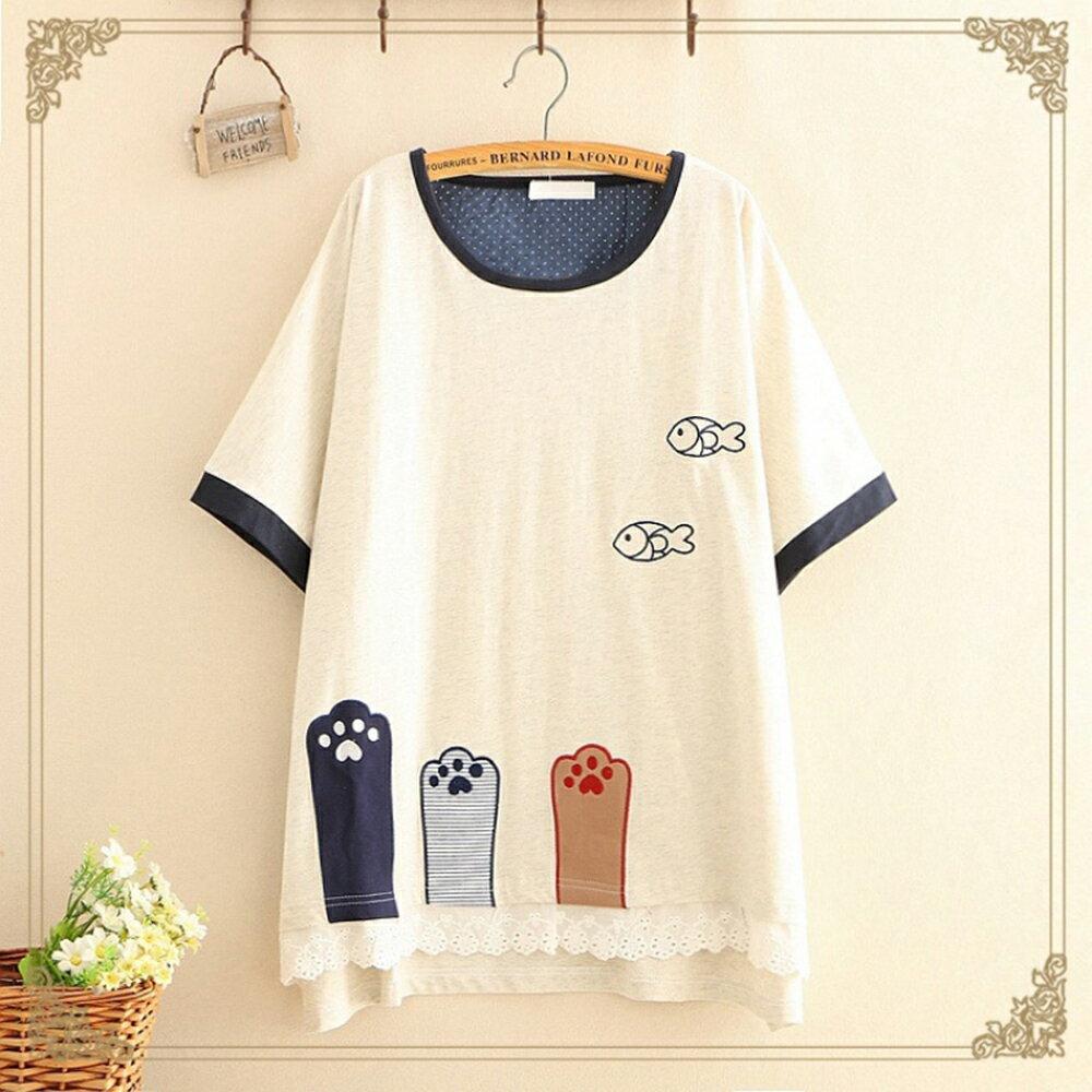 森女小清新三隻貓腳刺刺繡短袖T恤(2色F碼)【OREAD】 2