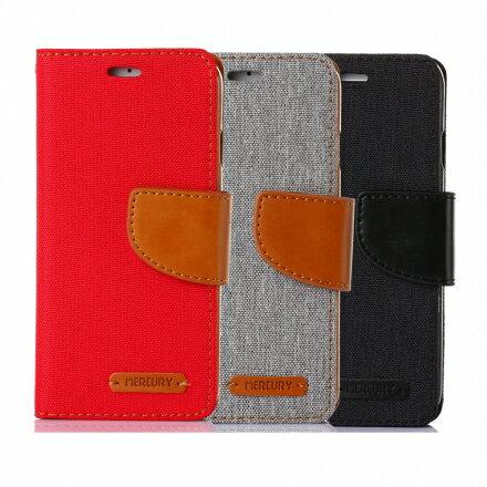 Mercury Samsung Note 5 韓風雙色牛仔紋 側掀磁扣支架式皮套 矽膠軟殼 紅灰黑色 0