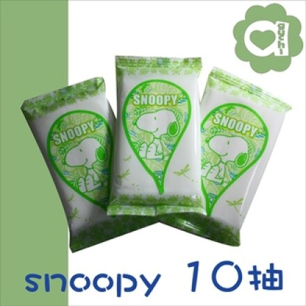 ☆ SNOOPY ☆ 史努比綠茶香氛柔濕巾/濕紙巾 10抽X3包【亞古奇 Aguchi】 0