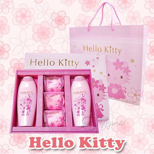 【Aguchi 亞古奇】☆Hello Kitty☆ 凱蒂貓櫻花香氛SPA禮盒 (2沐浴/3香氛皂)
