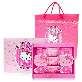 ☆Hello Kitty☆ 凱蒂貓 櫻花玻尿酸造型SPA時尚禮盒(1造型沐浴/1造型洗髮/3香氛皂