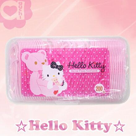 Hello Kitty 凱蒂貓超韌牙線棒 200支(盒裝) 盒子可當密封收納盒 最佳使用期限 2017/2/23