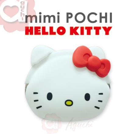 ☆Hello Kitty☆mimi Pochi 立體造型矽膠圓形 零錢包/多功能包☆氣質白