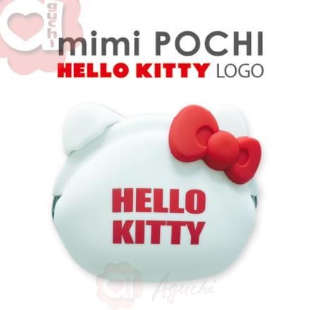 ☆Hello Kitty☆mimi Pochi 立體造型矽膠圓形-LOGO 零錢包/多功能包☆氣質白