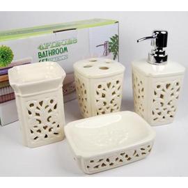 歐式簡約風格 鏤空花藝陶瓷衛浴四件套 浴室用品批