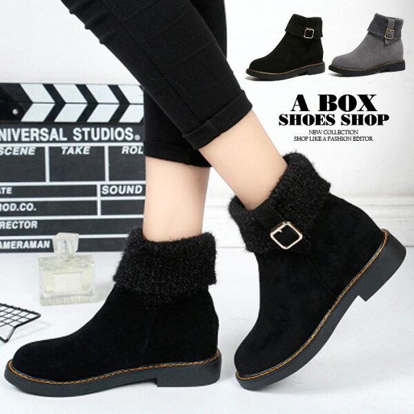 格子舖:【KS938】韓版針織毛料質感絨面短靴短筒靴方便套腳穿脫3.5CM粗低跟2色