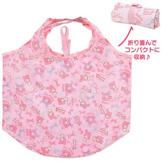 【真愛日本】16042700010環保購物袋-MM滿版蝴蝶結粉  三麗鷗家族 Melody 美樂蒂 側背包 包包 購物袋