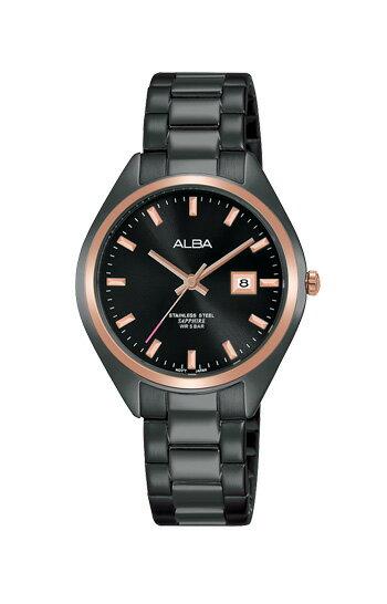 ALBA 雅柏錶 時尚對錶款AH7R20X1-黑x玫塊金框/32mm