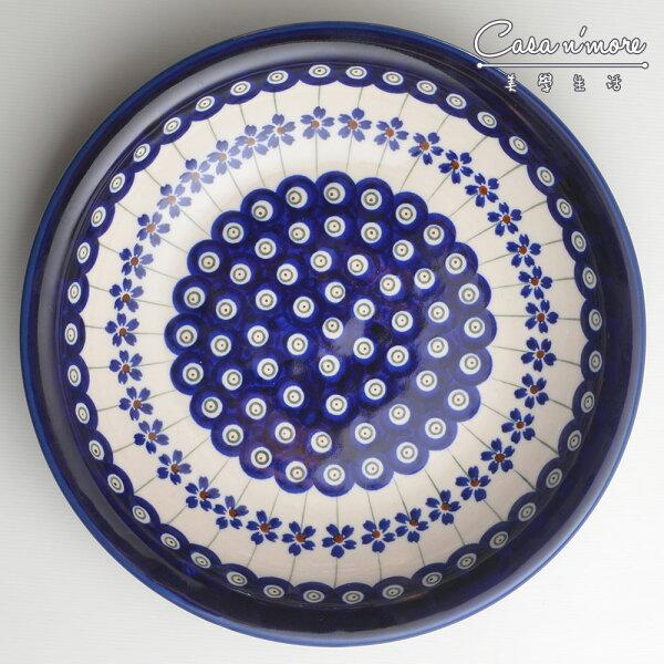 波蘭陶藏青小卉系列圓形深餐盤陶瓷盤菜盤水果盤圓盤深盤22.2cm波蘭手工製