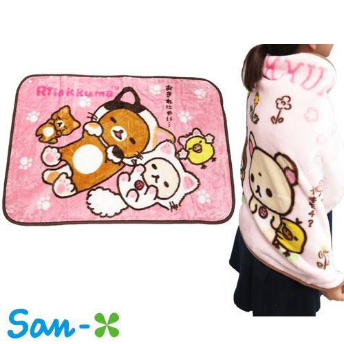 粉紅貓咪款【日本進口正版】San-X 拉拉熊 絨毛 披肩 毛毯 毯子 披毯 懶懶熊 Rilakkuma - 417970