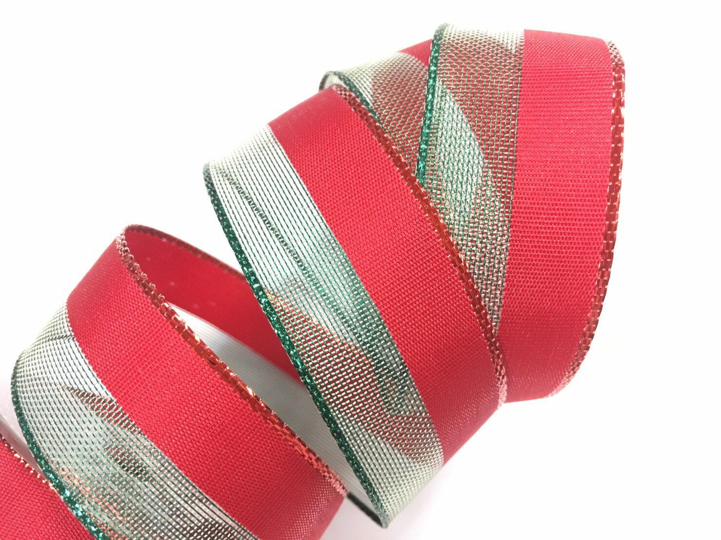 聖誕雙色鐵絲帶 3碼裝 2款 (5色) 0