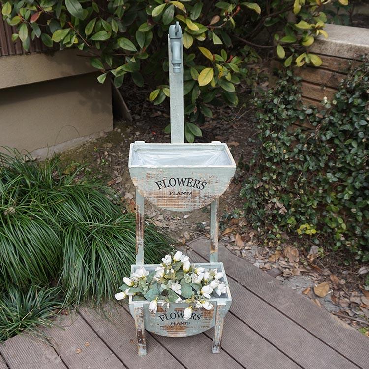 法式鄉村做舊水龍頭雙層花架花器 店鋪咖啡店裝飾擺件園藝雜貨1入