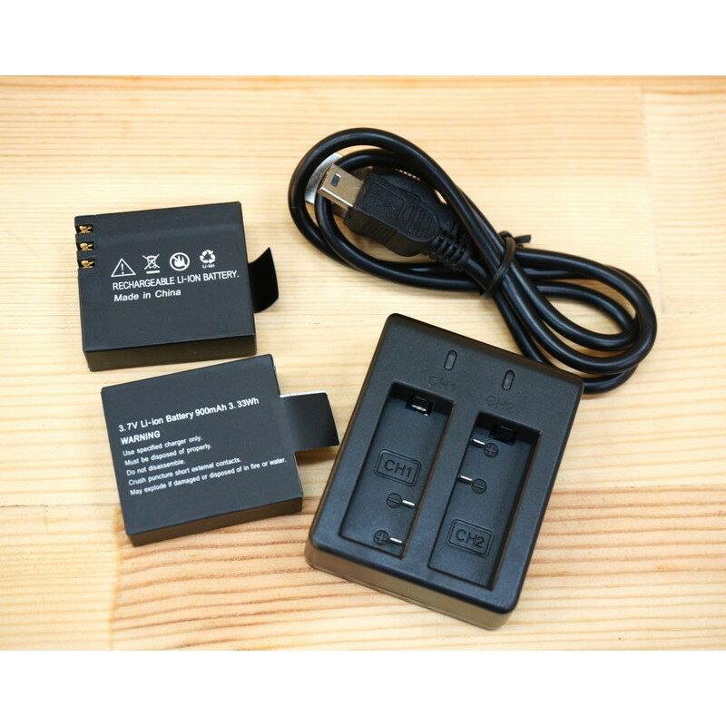 【中壢NOVA-水世界】SJCAM SJ4000 SJ5000 / 山狗 SJ6000 USB【雙電池充電器+2顆電池】