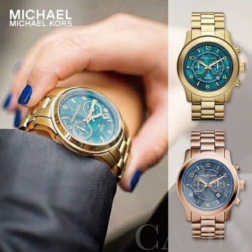 預購 美國正品 Michael Kors 中性金色玫瑰金地圖兩眼手錶 Runway Gold MK8315 MK8358