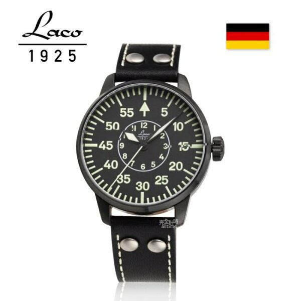 【完全計時】手錶館│Laco朗坤德國空軍夜光防水皮帶Bielefeld軍事風格機械錶42mm(861760)