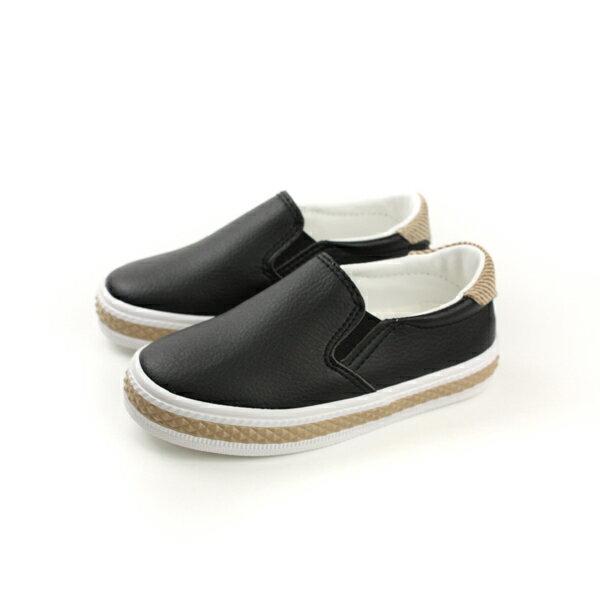 FEYAO 懶人鞋 休閒鞋 皮質 童鞋 黑色 中童 B1503 no097