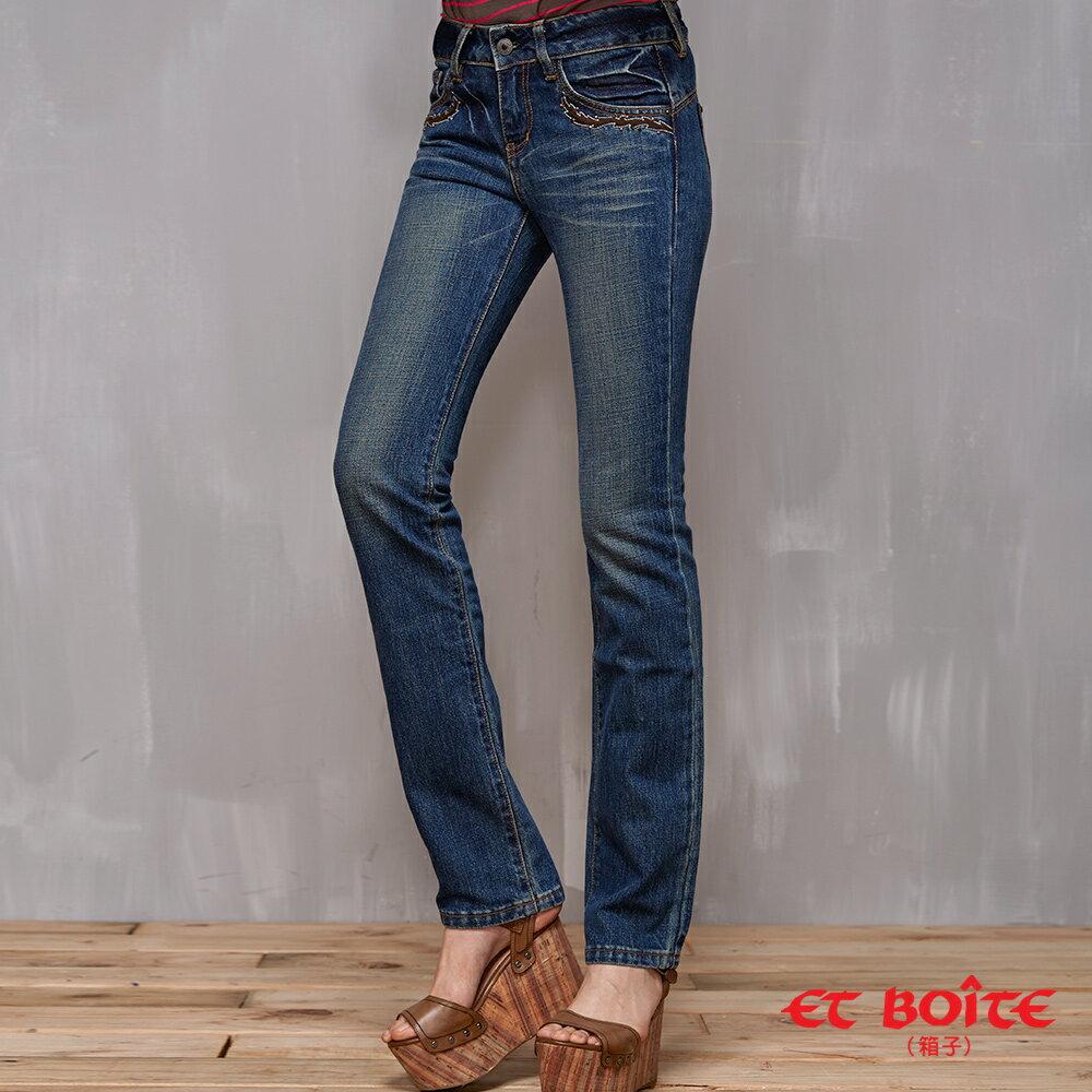 LeJean繡花鉚釘顯瘦直筒牛仔褲 - BLUE WAY  ET BOiTE 箱子 0