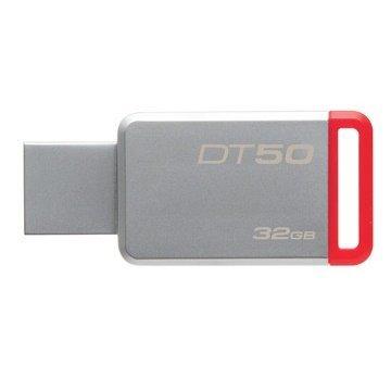 【新風尚潮流】 金士頓 隨身碟 DT50 USB 3.1 32G 紅標 無蓋式設計 金屬外殼 DT50/32GB