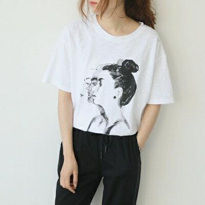 短袖T恤圓領上衣-韓系休閒女孩素描印花女打底衫73sy48【獨家進口】【米蘭精品】