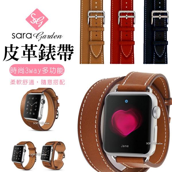 APP領券現折$100 Apple Watch 1 2 3 皮革多種搭配透氣錶帶 38mm 42mm