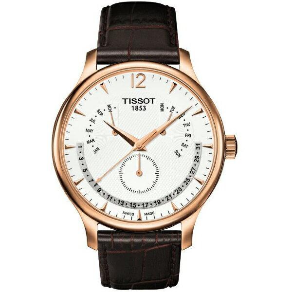 TISSOT天梭T0636373603700 TRADITION玫瑰金逆跳萬年曆石英腕錶/白面42mm