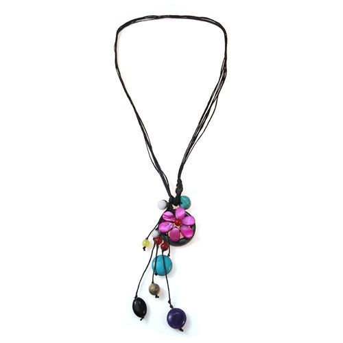 Pretty Purple Flower Pendant with Colorful Mix of Stone and Shell Necklace (Thailand) 1
