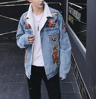 FINDSENSEG6韓國時尚羊羔絨牛仔外套男寬鬆復古刺繡牛仔夾克外套
