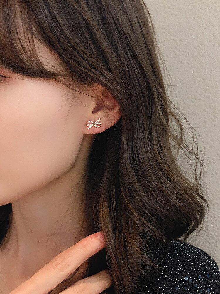 高級感法式耳環韓國名媛氣質網紅東大門耳墜女微鑲滿鉆蝴蝶結耳釘1入
