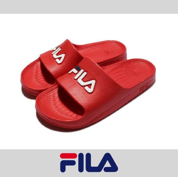 萬特戶外運動 FILA 4-S355Q 防水 超輕量 一體成形 無接縫 男女尺寸 運動 沙灘拖鞋 情侶鞋 復古經典 紅色