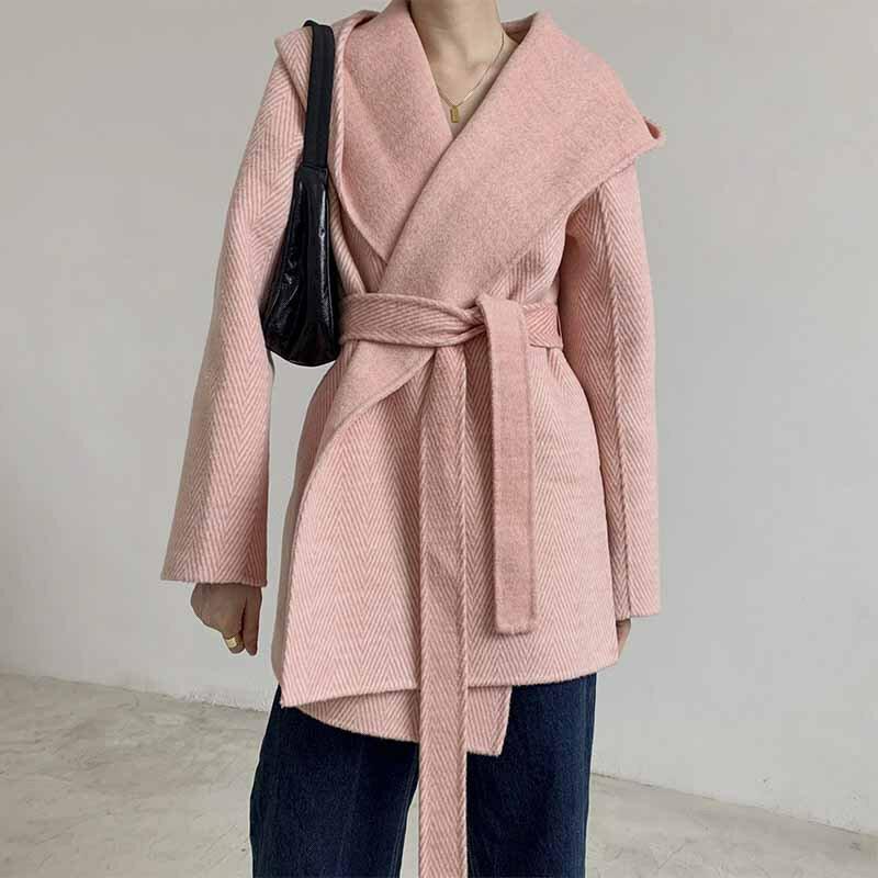 毛呢大衣羊毛外套-短版繫帶寬鬆連帽女外套4色73wb24【獨家進口】【米蘭精品】 0