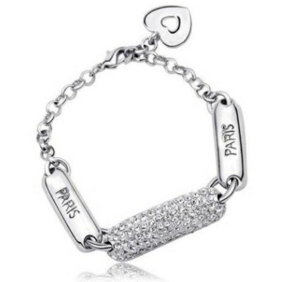 ~純銀手鍊 鍍白金鑲鑽手環~ 有型亮眼 生日情人節 女飾品73cv48~ ~~米蘭 ~