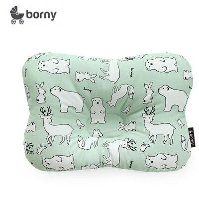 【安琪兒】韓國【 Borny 】 3D透氣蜂巢塑型嬰兒枕(0~6個月適用) (綠熊鹿)