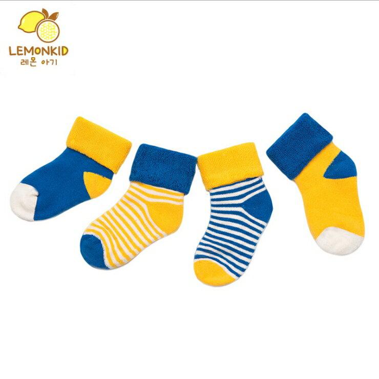 Lemonkid◆秋冬百搭可愛點點條紋嬰兒兒童4色短襪組 (推薦0-4歲) - 藍色黃色組(4雙入)